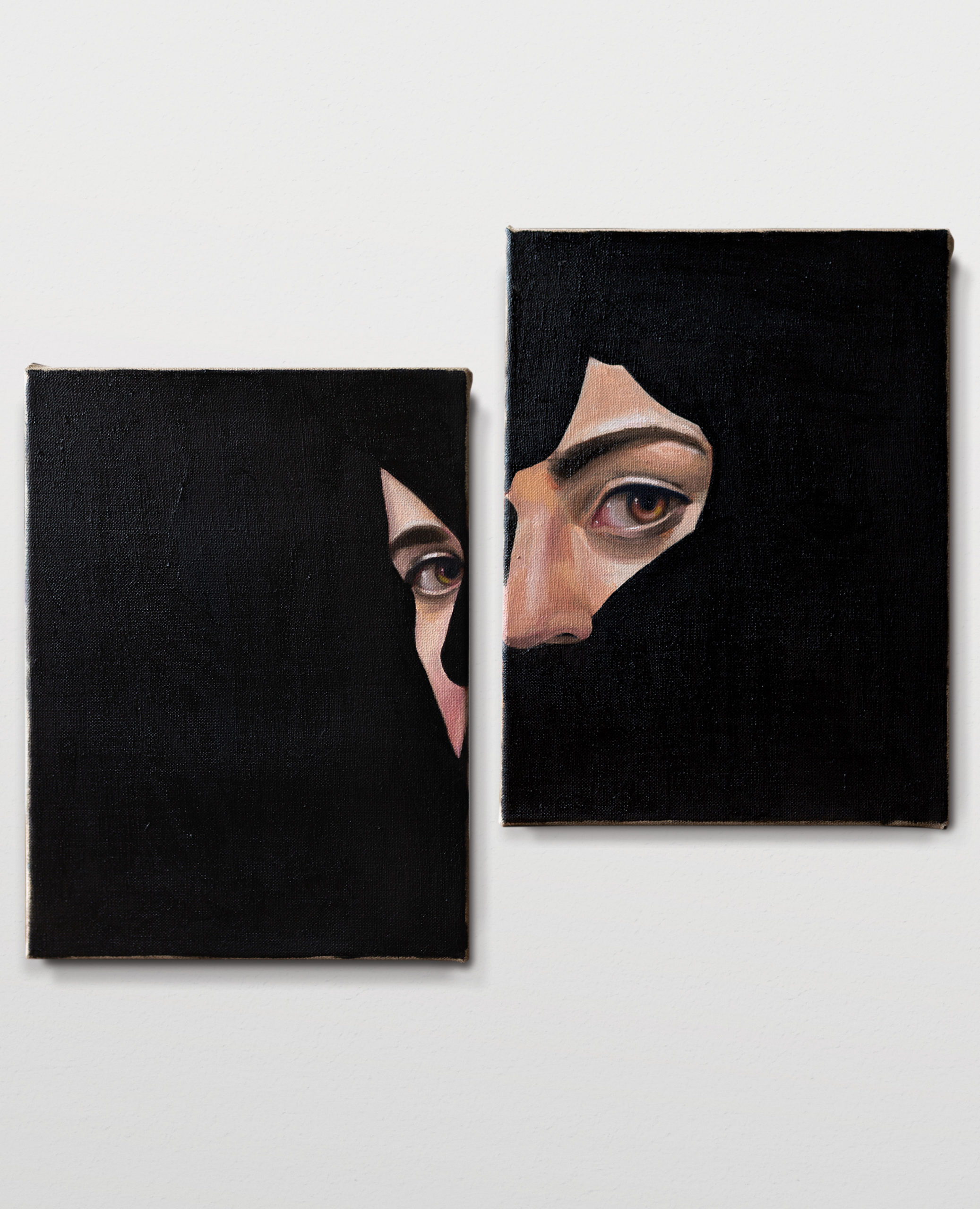 Black diptych, oil on linen