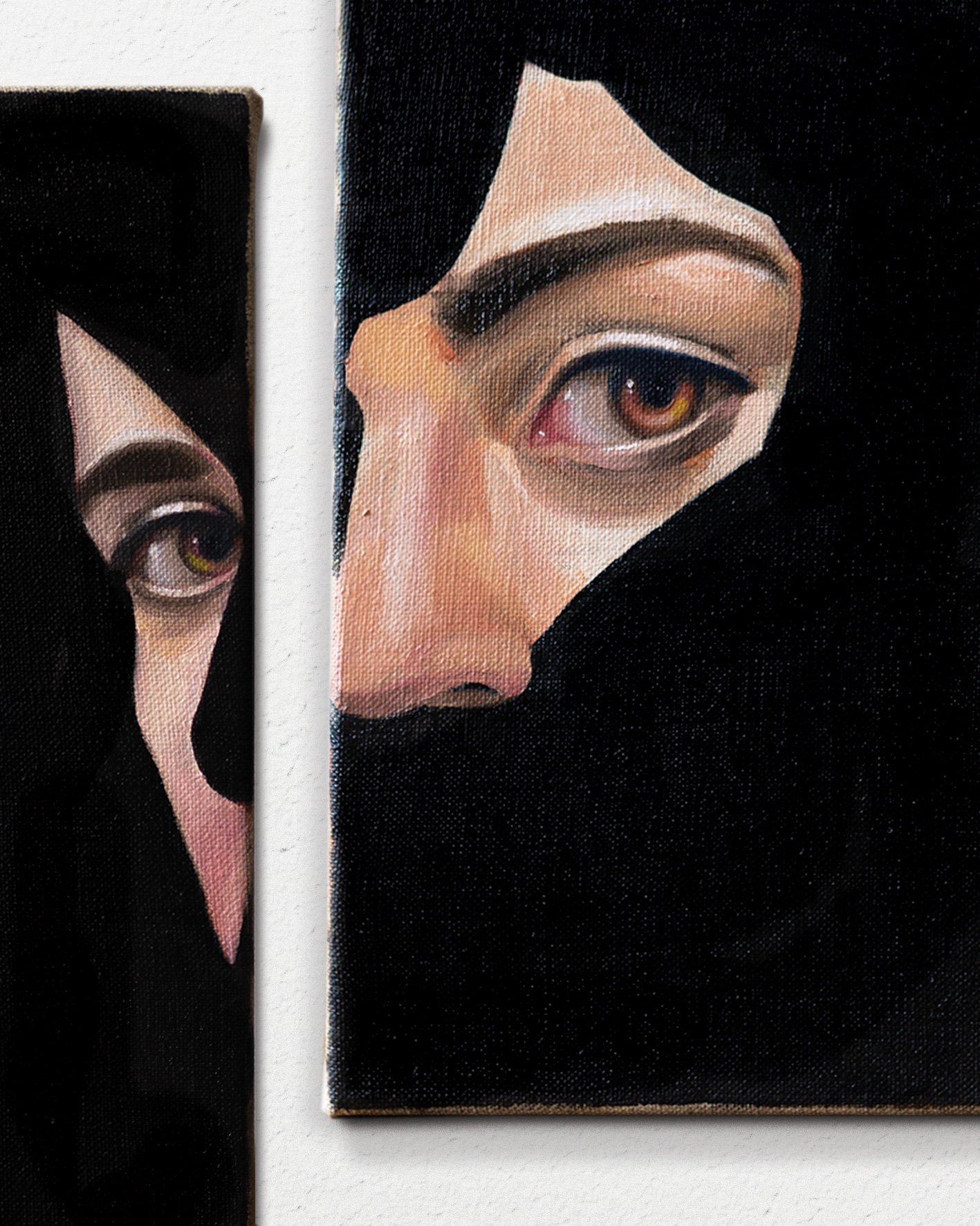 Black diptych detail, oil on linen