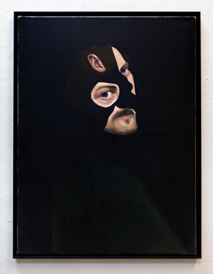 Man in green II, oil on linen, 80x60cm