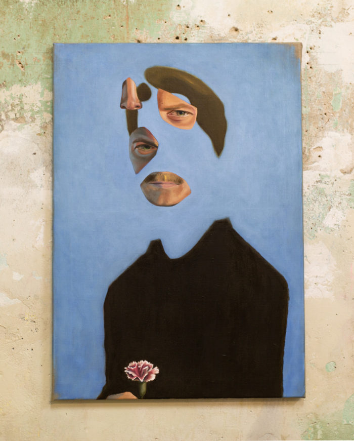 Man with carnation I, oil on linen