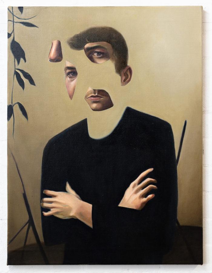 Self portrait in lockdown, 2020, oil on linen, 80x60cm