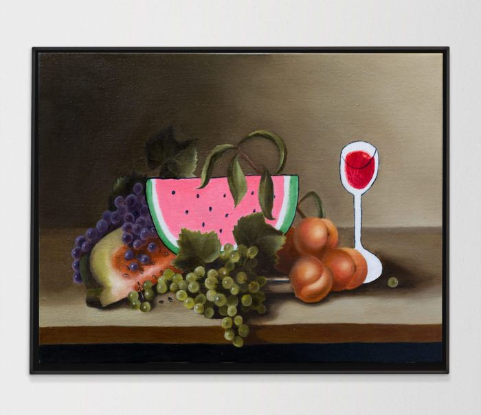 Still life with watermelon, 2020, oil on linen, 80x60cm