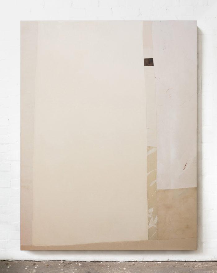 Space, 2020, oil, acrylic, bleach, conte pastel on canvas, 200x150x4cm