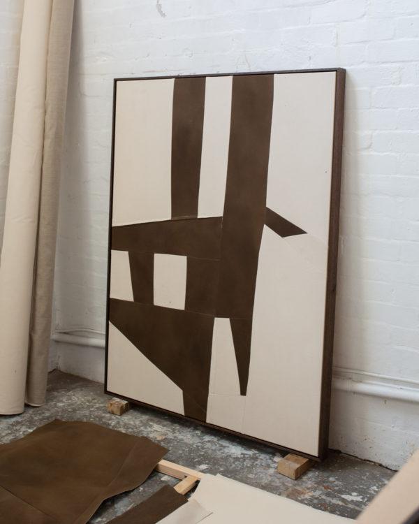 Two people alone, acrylic on stitched canvas, Tasmanian oak frame, 2021