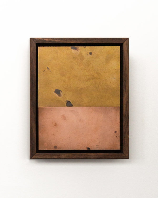Introspective painting, patina on copper and brass, Morgan Stokes